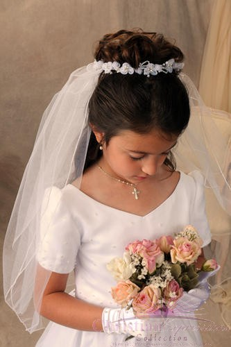 First Communion Bun Wrap Veil Style Patty