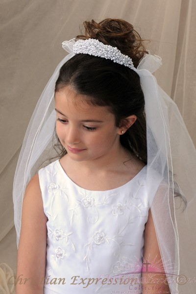 First Communion Pearl Crown with Pouf Veil