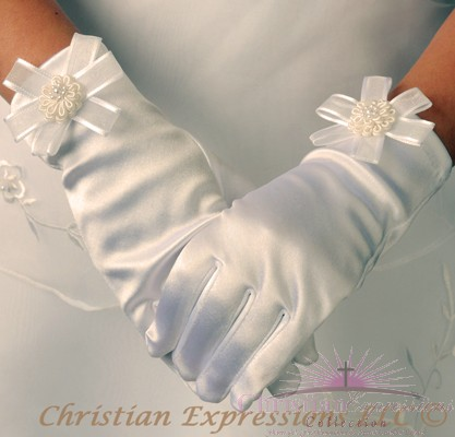 First Communion Gloves Satin with Rosette
