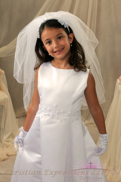 Beaded flower hairband, two tier veil with rolled edge  First Communion Headband Veil