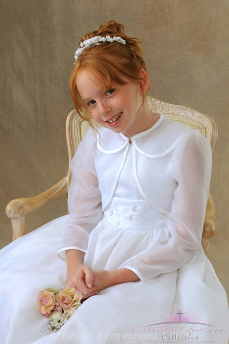First Communion Long Sleeve Organza Jacket