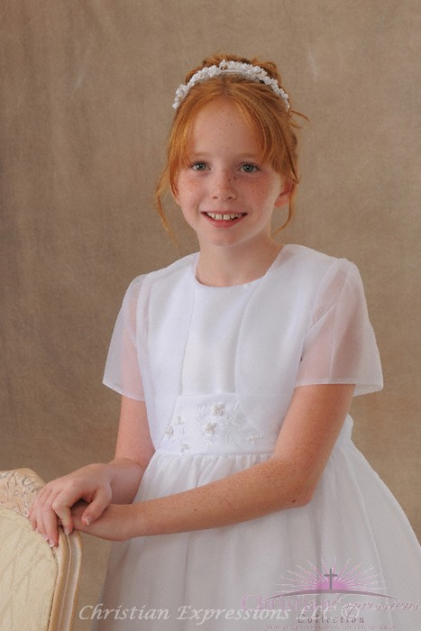 First Communion Short Sleeve Organza Jacket