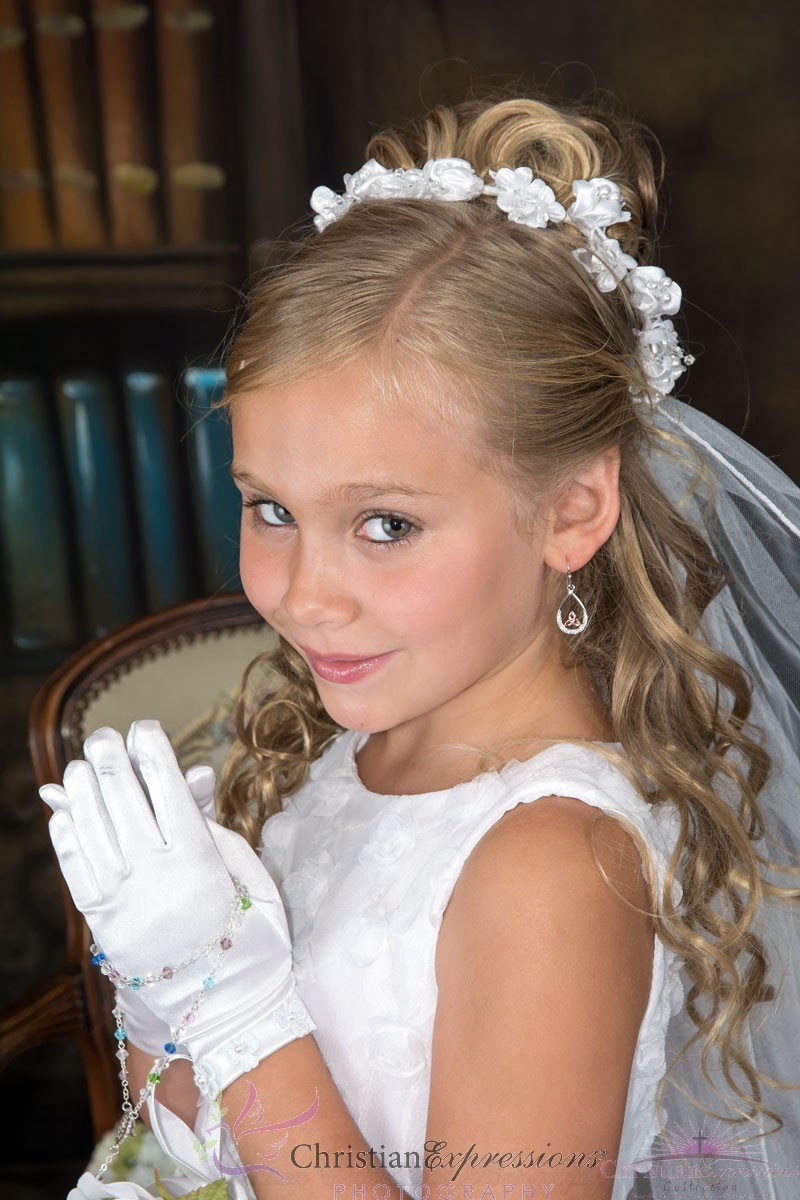 First Communion Wreath Veil Satin Flowers