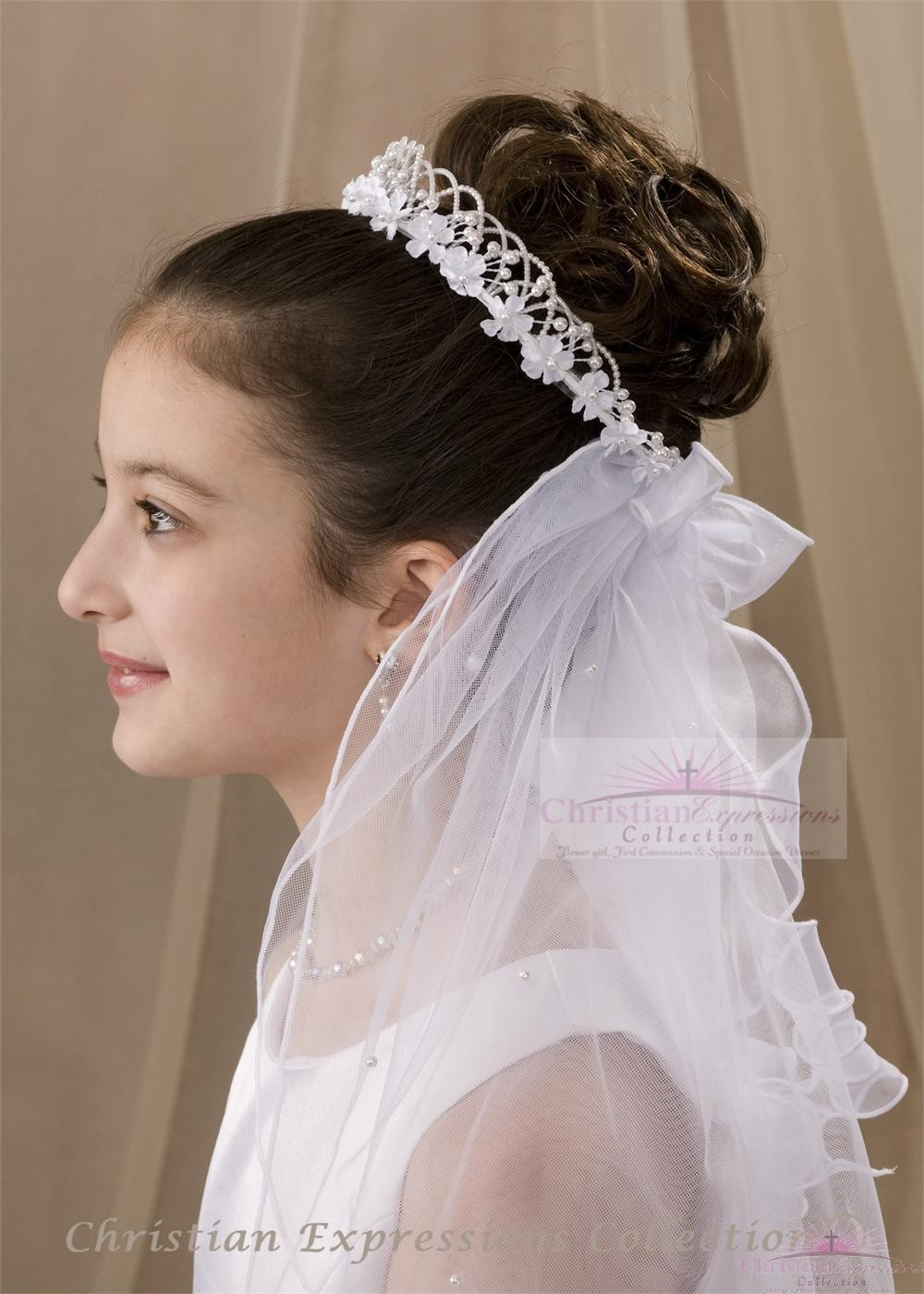 First Communion Bun Wrap Veil Style Tabitha