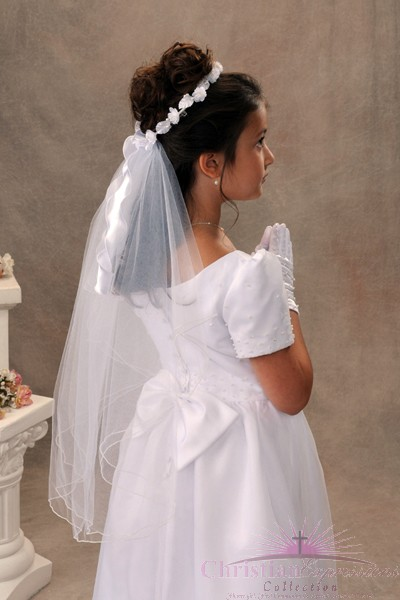 First Communion Wreath Veil Style Gina