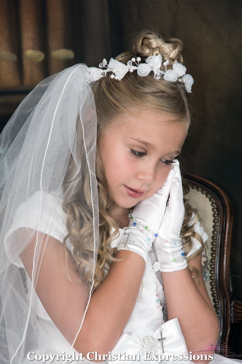 first communion wreath veil with bugle beads