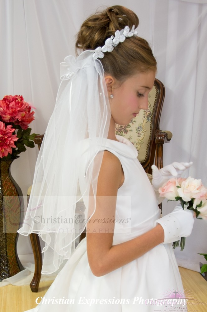 First Communion Bun Wrap Veils with Satin Flowers