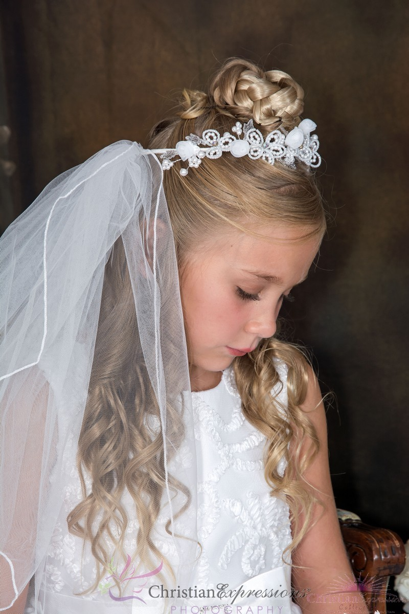 First Communion Crown or Wreath Veil with Bugle Beads