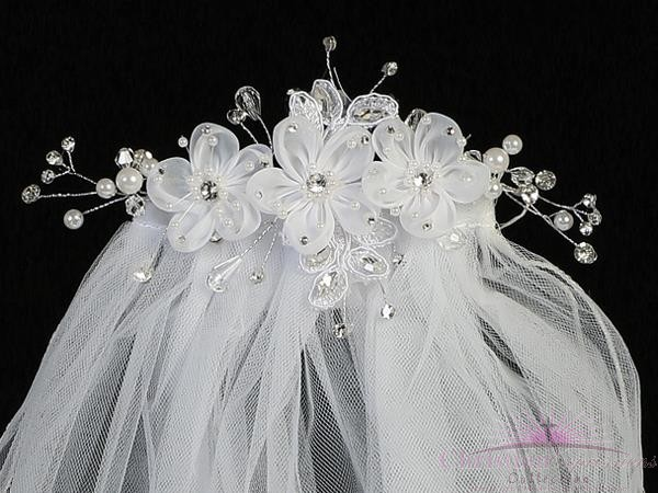 First Communion Comb Veil Organza Flowers