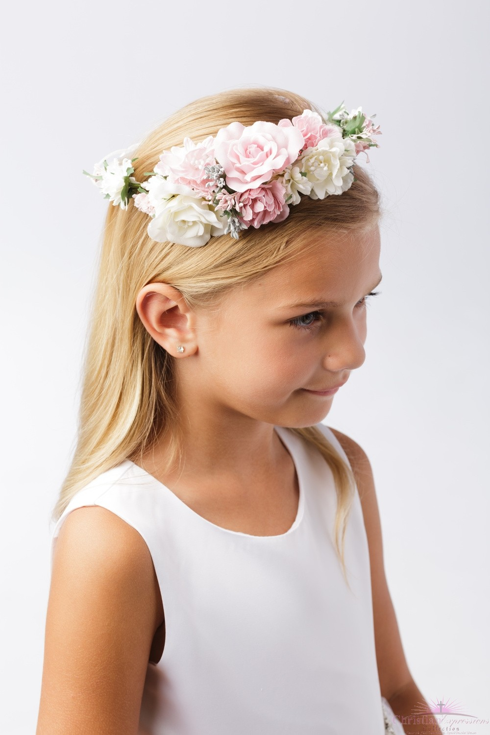 First Communion Floral Crown Wreath Headpiece with Large Flowers