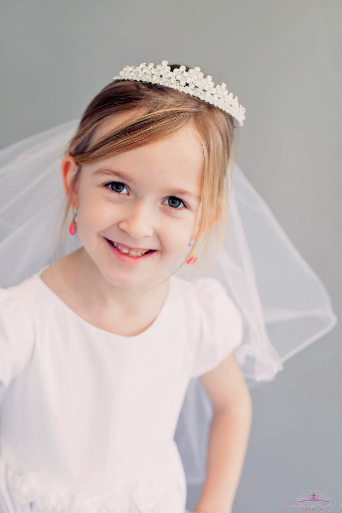 First Communion Veil with Princess Crown Headpiece