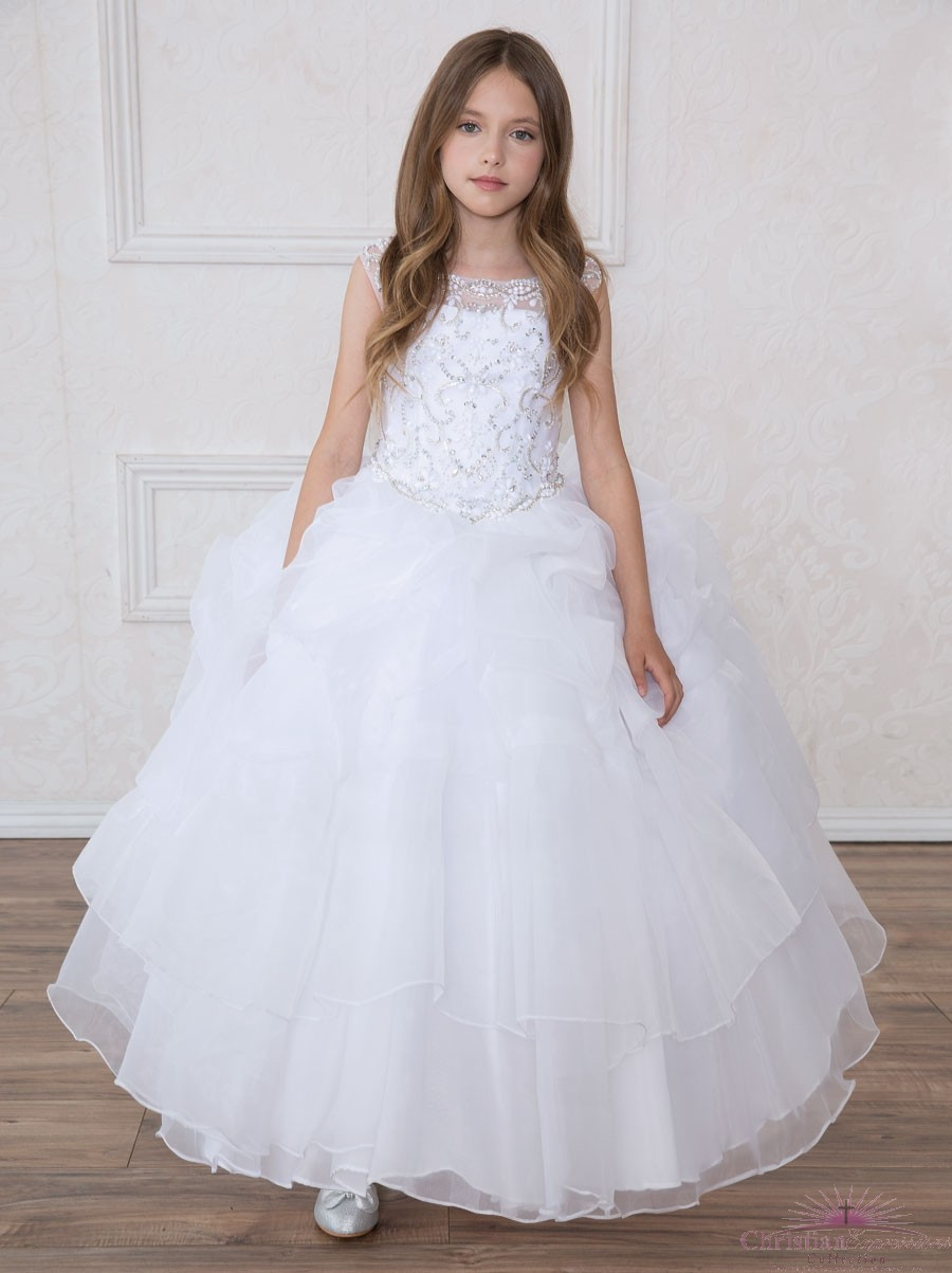 Full Length First Communion Dress Multi Layered Skirt Rhinestone Halter Bodice
