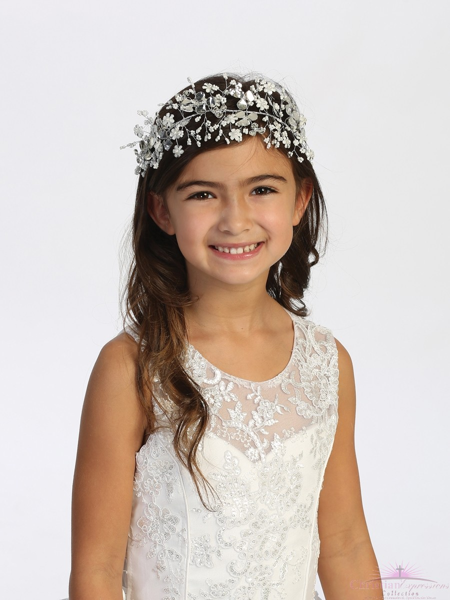 Silver Flower with Beads Wire Floral First Communion Headpiece with Satin Ties