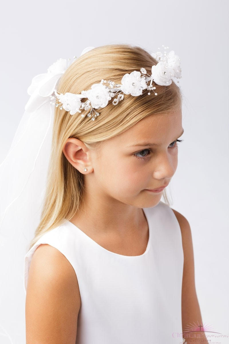 White Holy Communion Wreath Veil with Flowers