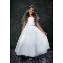 A Line First Communion Dress with Pearl Waist