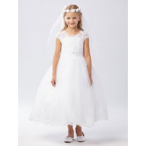 Lace First Communion Dress with Cap Sleeves