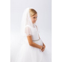 First Communion Veil with Crystal Trim Edge