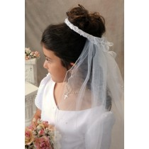First Communion Bun Wrap Veil Style Ginger