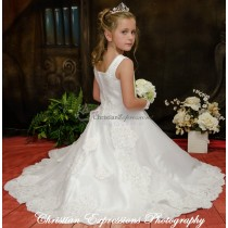 Satin First Communion Gown with Heavy Pearl Beading and Lace Trim size 7