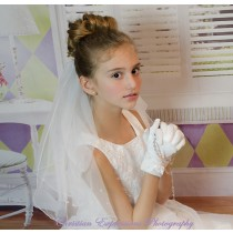 First Communion Veil with Scattered Pearls