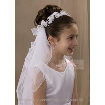 First Communion Bun Wrap Veil Style Lillian
