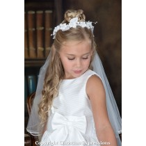 First Communion Wreath Veil Satin Rosettes