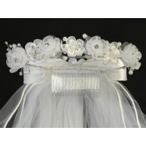 Wreath First Communion Veil Organza Flowers Pearls