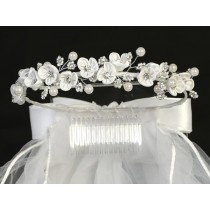 Wreath First Communion Veil Satin Flowers Rhinestones