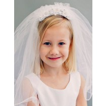 First Communion Veil with Satin and Pearls Comb Headpiece
