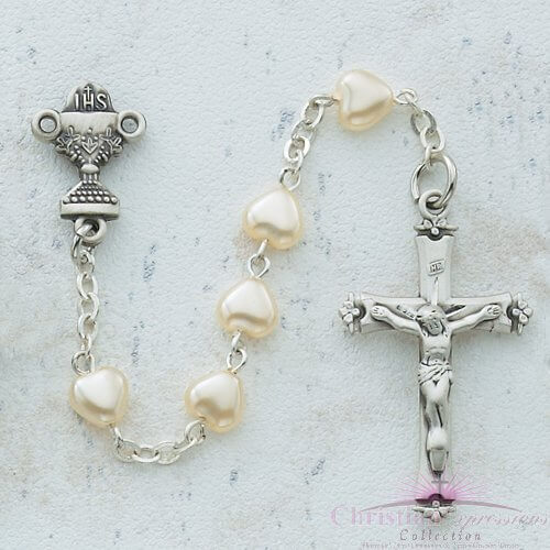 Pearl Heart First Communion Rosary Beads