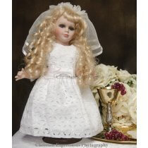 Cotton Eyelet  First Communion Doll Dress