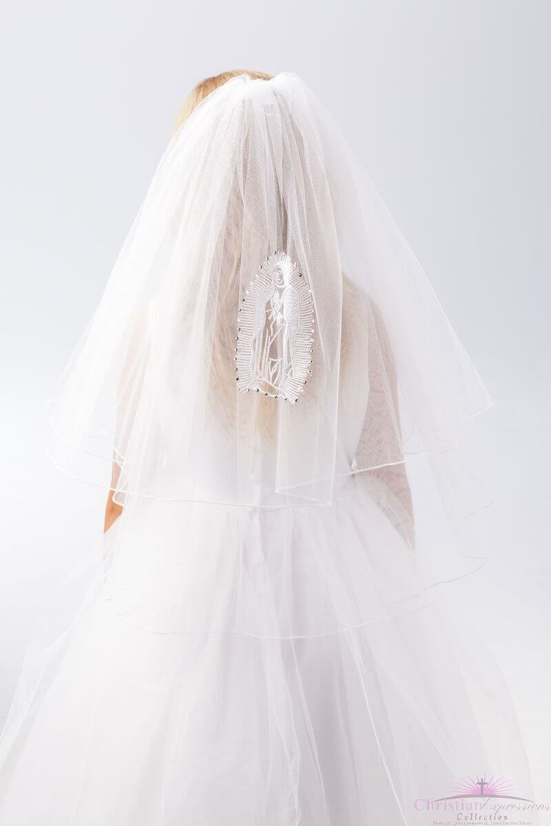 Virgin Mary First Communion Veil with Rhinestones