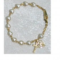 Childrens Pearl Heart Rosary Bracelet Gold Sterling Silver