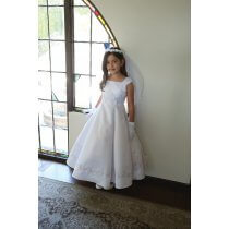 Bridal Satin First Communion Dress with Beading
