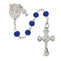 Blue Glass First Communion Rosary Beads with Charms