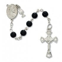 Black Glass First Communion Rosary Beads with Charms