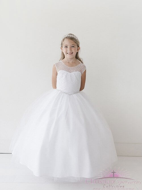 Long Length First Holy Communion Gown with Beaded Bodice