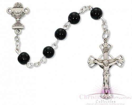 Black Glass First Communion Rosary Beads