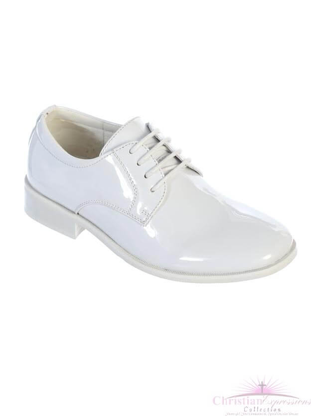 Boys White Patent Leather First Communion Shoes