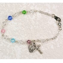 Childrens Rosary Bracelet Multi Color Crystals Sterling Silver