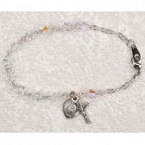 Childrens Rosary Bracelet Clear Crystals Sterling Silver