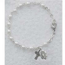 Childrens Irish  Pearl Rosary Bracelet  Sterling Silver