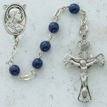Blue Glass First Communion Rosary Beads Sacred Heart of Jesus