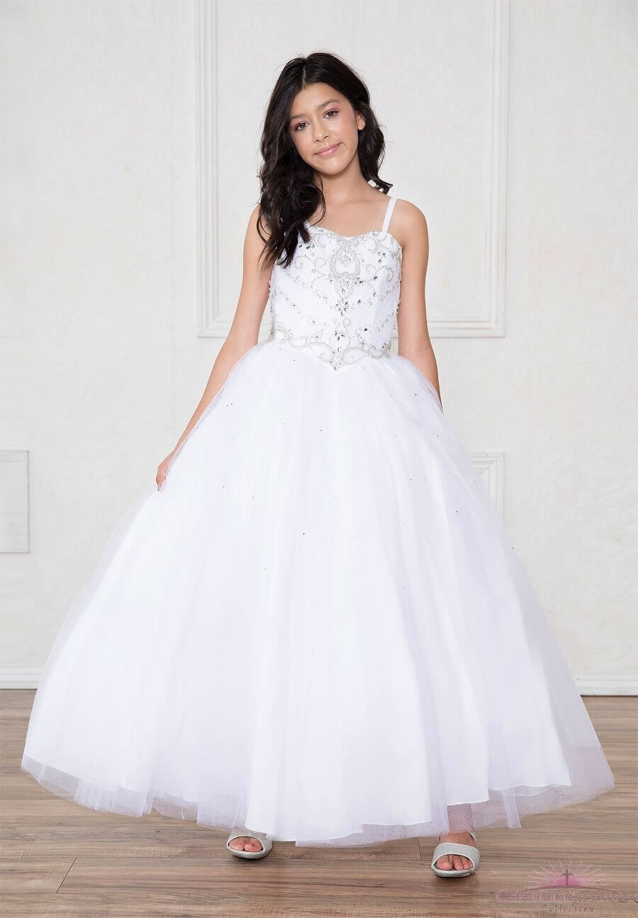 First Communion Dress Full Length Sweetheart Neckline Spaghetti Straps
