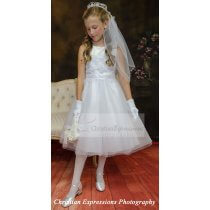 First Communion Dresses with Glitter and Sparkles Skirt