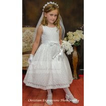 Cotton First Communion Dress tea Length size 8