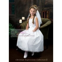Cotton First Communion Dresses with Daisy Flowers
