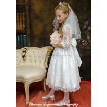 lace first communion dress three quarter sleeves