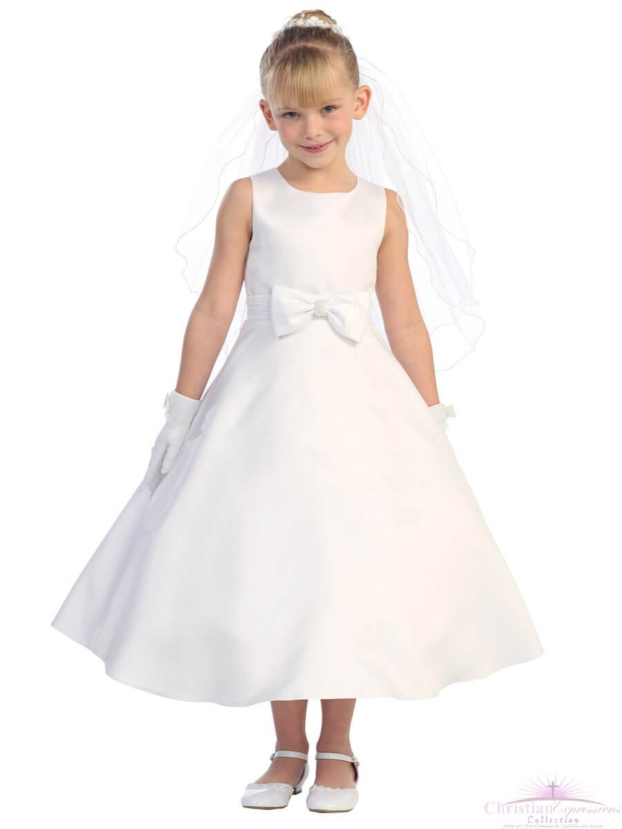 Satin A Line First Communion Dress with Bow
