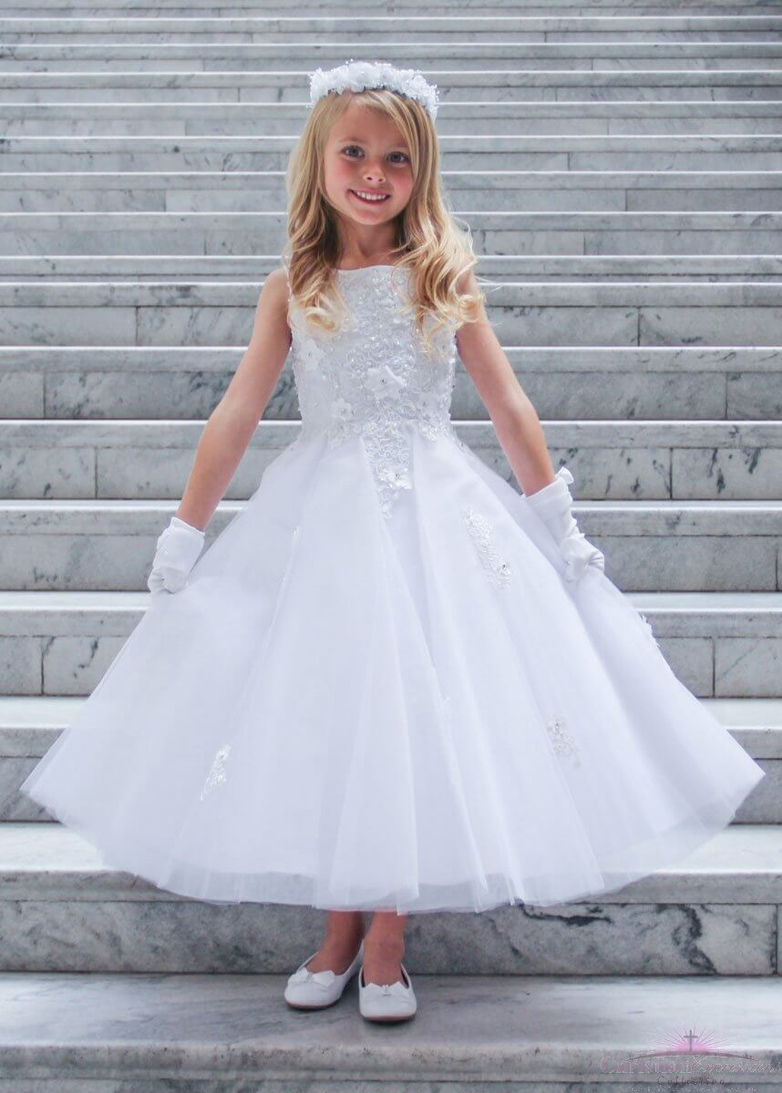 Ballerina First Communion Dress with Floral Bodice